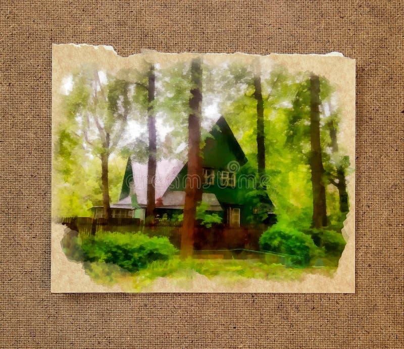 Wygodny drewniany dom chował w gąszczach wśród wysokich, nikłych sosen, ilustracja wektor