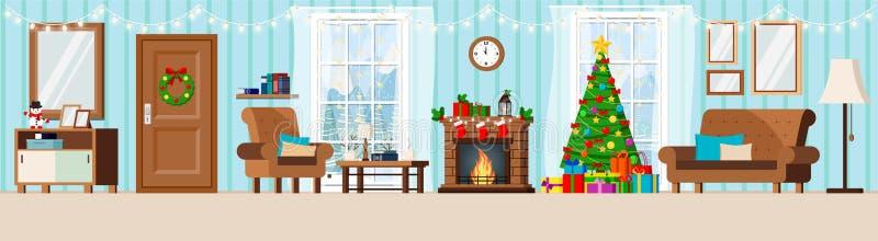 Wygodny nowy rok dekorował korytarza żywego izbowego wnętrze z choinką, graba, karło, leżanka, filiżanka, stojak, coffe stół, royalty ilustracja