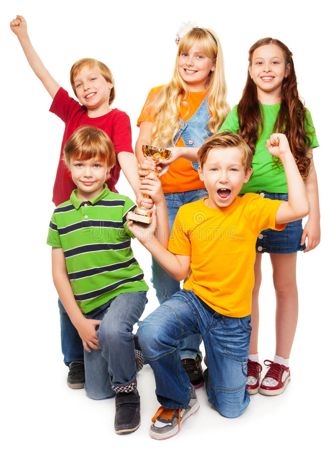 Wygrana drużyna 5 dziewczyn i chłopiec obraz stock