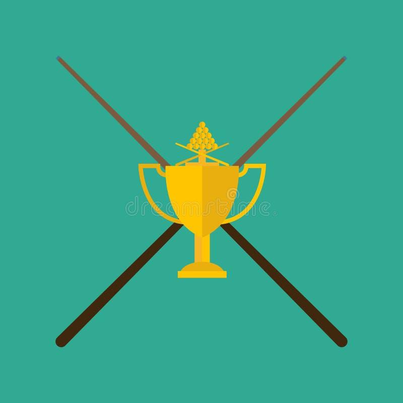 Wygrani billiards z wskazówki pojęciem zwycięstwo wektoru ilustracja ilustracji