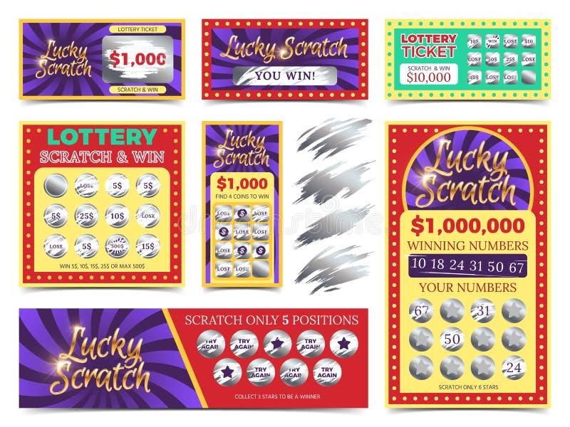 Wygrani loteryjka bilety i narys kart wektoru set royalty ilustracja