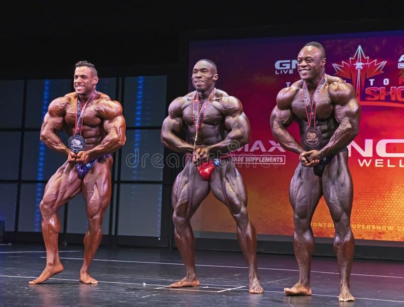 Wygrany Męski Bodybuilders przewód przy 2019 Toronto Pro Supershow zdjęcie royalty free