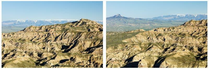 Wygryzionych pustynnych wzgórzy Kierowy Halny kolaż obraz royalty free