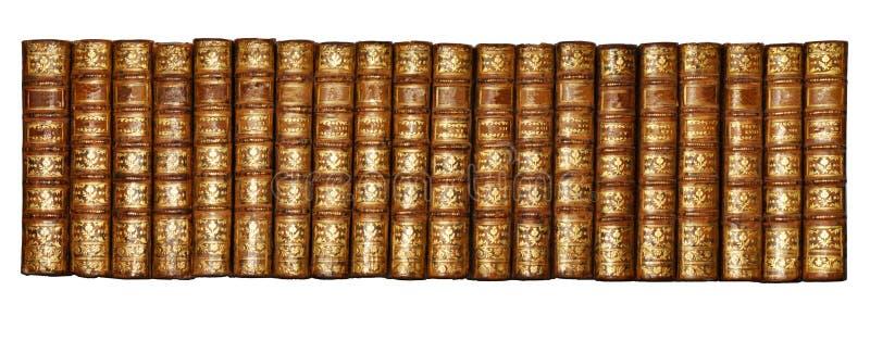 Wyizolowane białe tło, Shinny Antique Book Collection Widok półki, widok półki biblioteki dwudziestu książek historycznych obraz royalty free