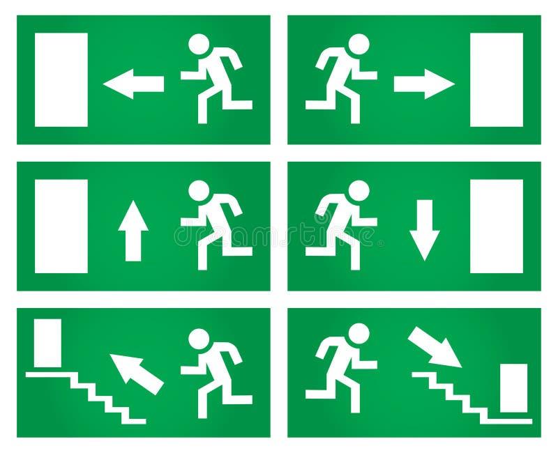 Wyjście ewakuacyjne znaki ustawiający royalty ilustracja