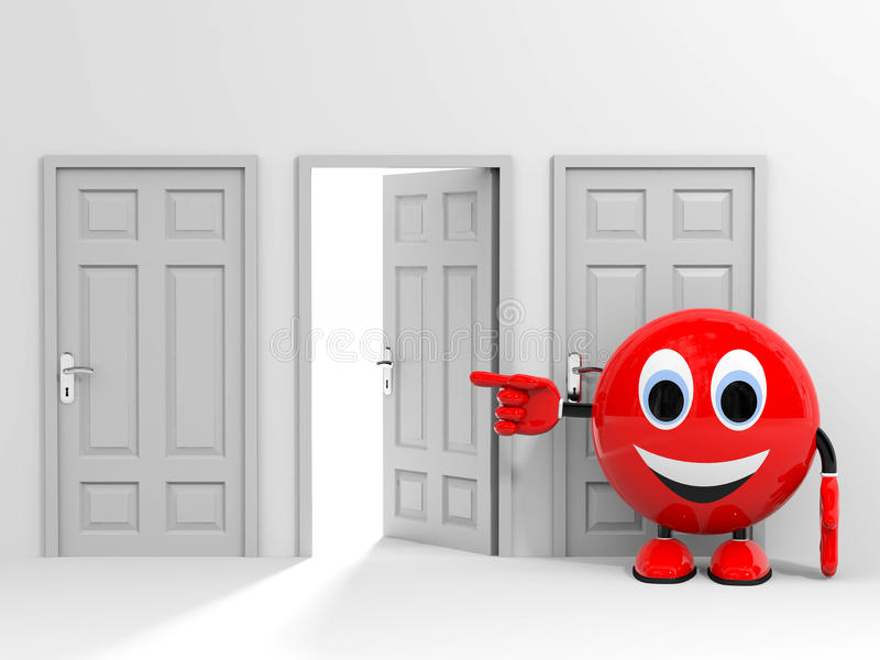 Wyjście. Wybór. Wskazywać przy otwarte drzwi. zdjęcia stock