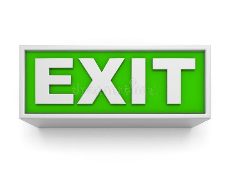 Wyjście znak na biel ścianie 3d odizolowywający odpłacający się wideo biały świat ilustracji