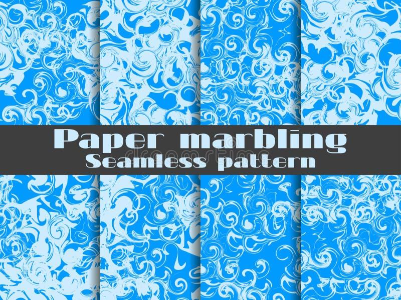Wykładać marmurem bezszwowego wzoru set Marmurkowata papierowa akwarela Rysować na wodzie ai eps8 formata grunge ilustracyjny tek ilustracja wektor