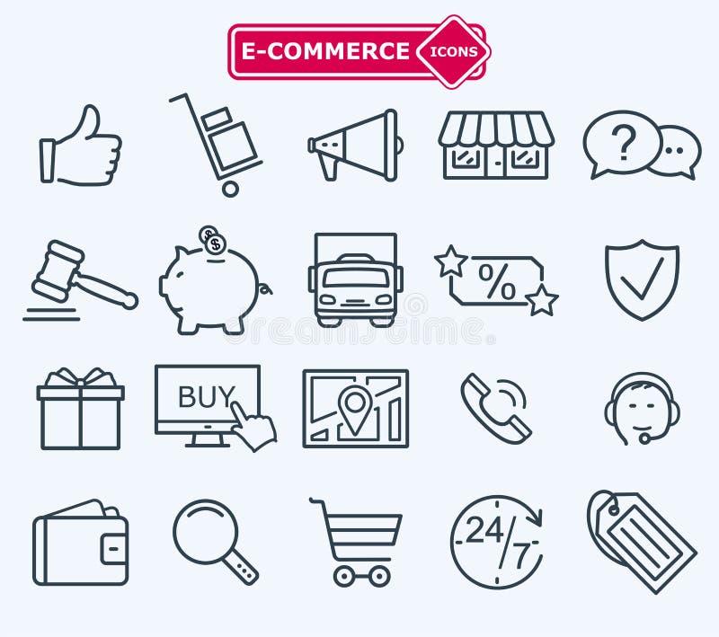 Wykłada ikony ustawiać, handel elektroniczny, robi zakupy ilustracji