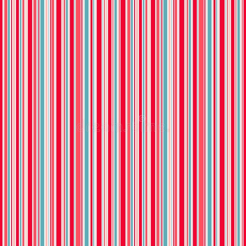 Wykłada tło, czerwona błękit menchia i biel paskuje wektorowego bezszwowego wzór royalty ilustracja