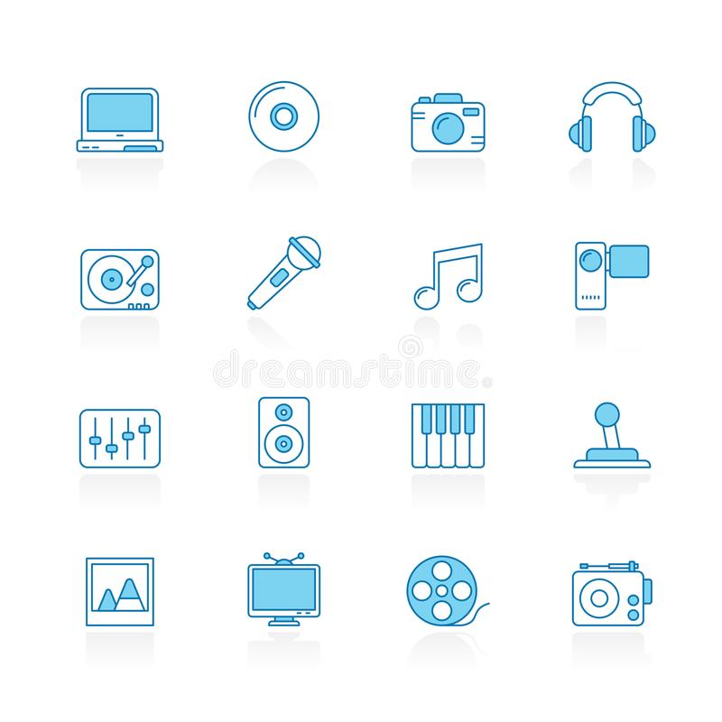 Wykłada z błękitnymi tło środkami, rozrywką i technologii ikonami, royalty ilustracja