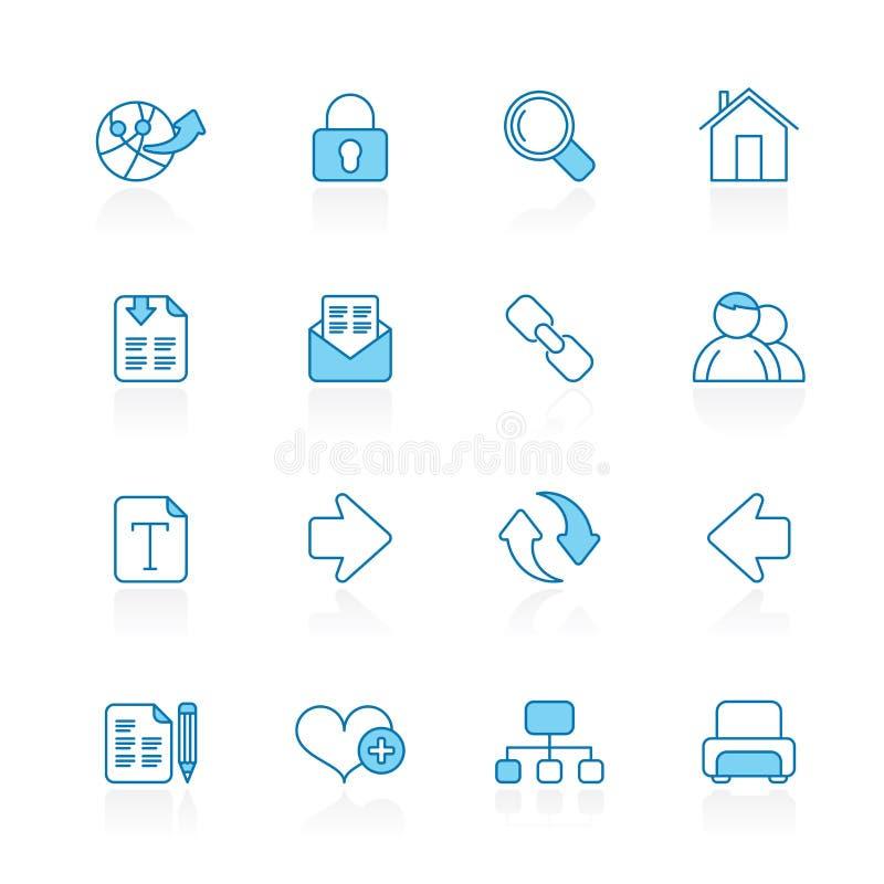 Wykłada z błękitnymi tło sieci i interneta nawigaci ikonami royalty ilustracja