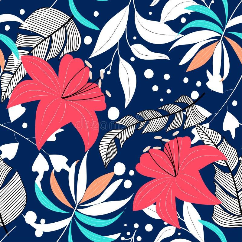 Wykazuje tendencję abstrakcjonistycznego bezszwowego wzór z kolorowymi tropikalnymi liśćmi i roślinami 10 t?o projekta eps techni ilustracja wektor