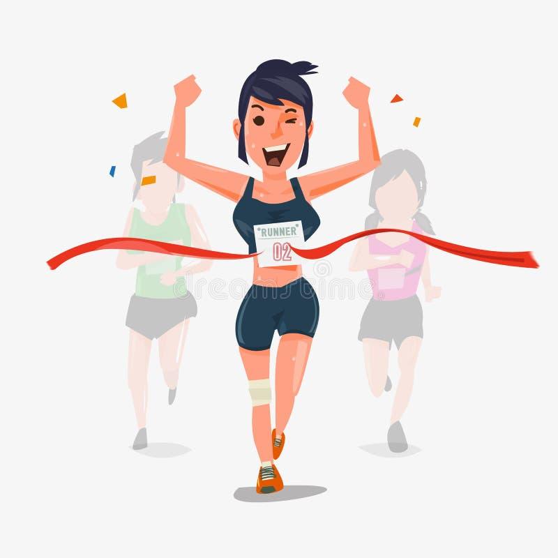 Wykończeniowy biegacza charakteru projekt z inny behind Wygrywać Cha royalty ilustracja