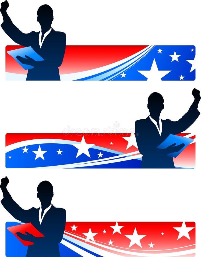 Wykonawczy bizneswomany z Patriotycznymi sztandarami ilustracji