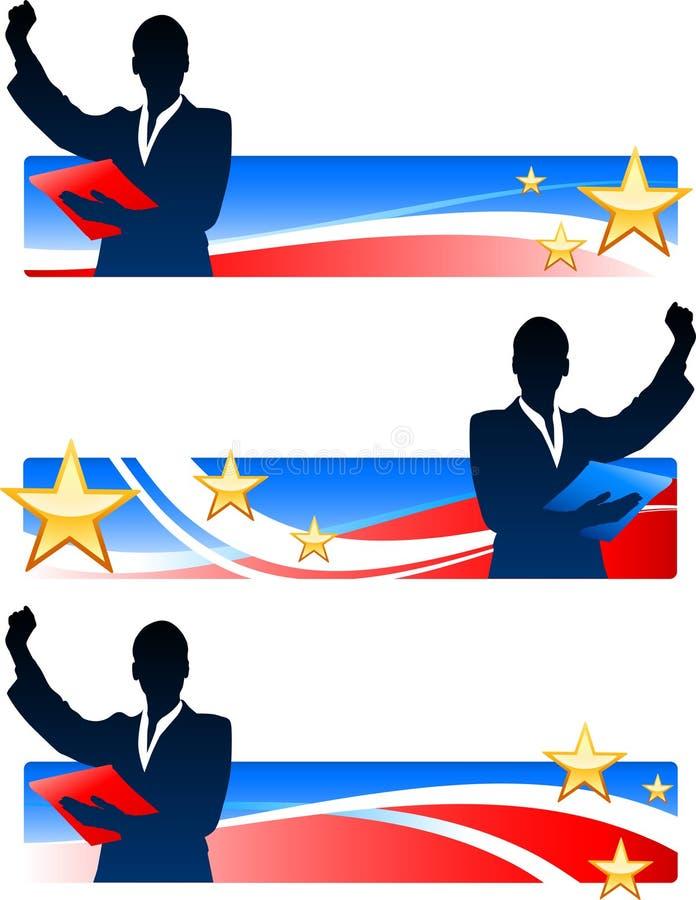 Wykonawczy bizneswomany z Patriotycznymi sztandarami royalty ilustracja