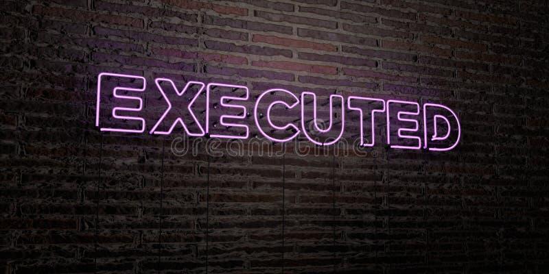 WYKONUJĄCY - Realistyczny Neonowy znak na ściana z cegieł tle - 3D odpłacający się królewskość bezpłatny akcyjny wizerunek ilustracja wektor
