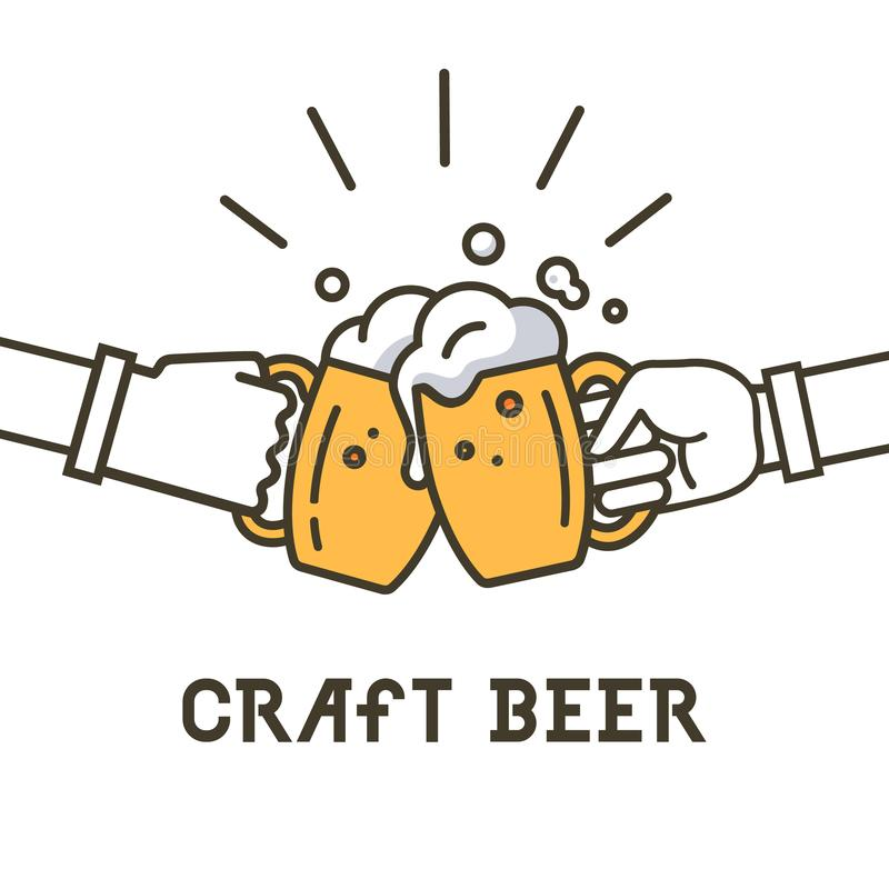 Wykonuje ręcznie piwnego logo, pisze list wektorowego ilustracyjnego emblemata projekt ilustracja wektor