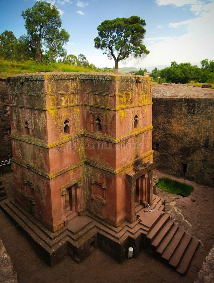 Wykopywany krzyża St George kościół w Lalibela, Etiopia obrazy royalty free
