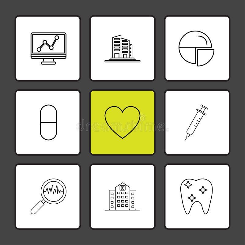 wykres, budynki, pasztetowa mapa, medycyna, serce, pupil, royalty ilustracja