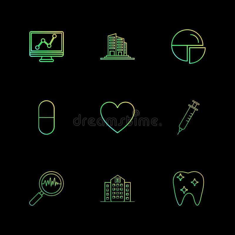 wykres, budynki, pasztetowa mapa, medycyna, serce, pupil, ilustracji