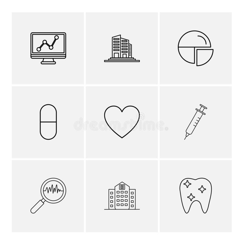 wykres, budynki, pasztetowa mapa, medycyna, serce, pupil royalty ilustracja