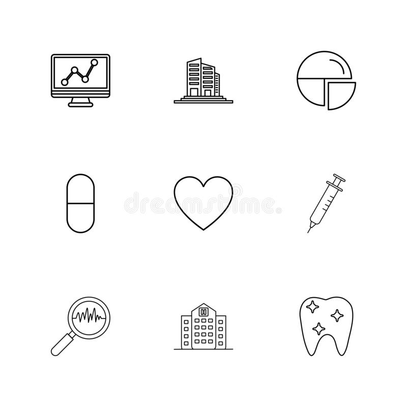 wykres, budynki, pasztetowa mapa, medycyna, serce, pupil ilustracji
