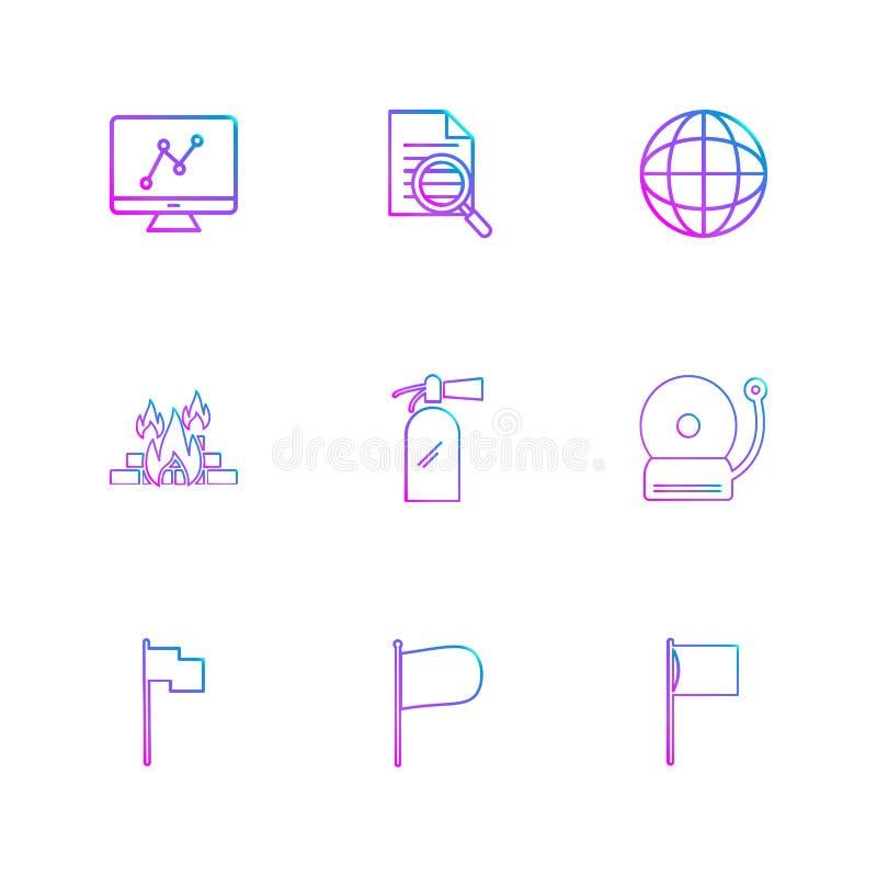 wykres, dokument, dzwon, ogień, seo, technologia, internet, fl ilustracja wektor