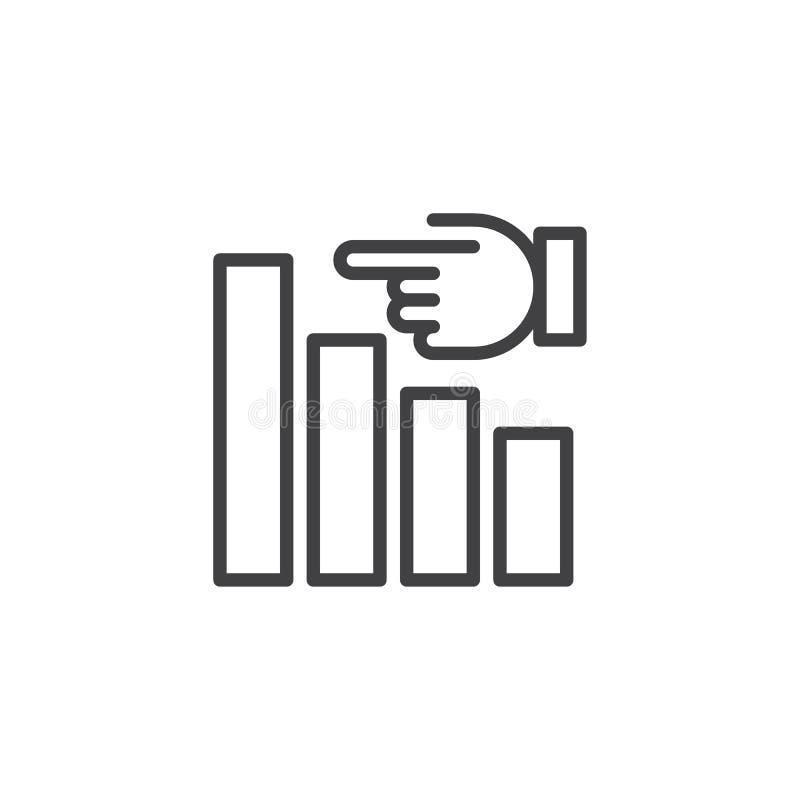 Wykres i ręka konturu ikona royalty ilustracja