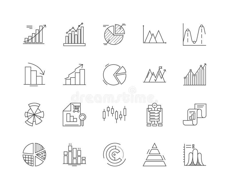 Wykres kreskowe ikony, znaki, wektoru set, kontur ilustracji poj?cie ilustracji