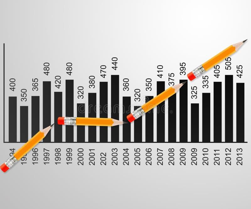 wykres linia ołówek ilustracji