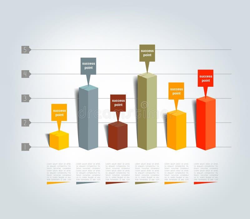 Wykres, mapa, 3D Infographics ilustracji