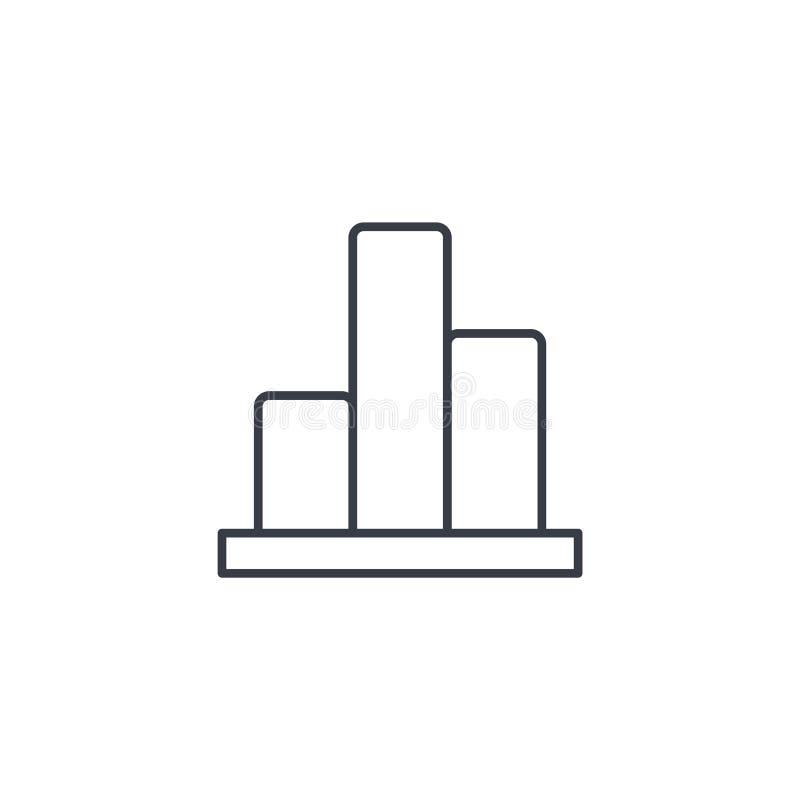 Wykres mapa, statystycznego diagrama cienka kreskowa ikona Liniowy wektorowy symbol ilustracji