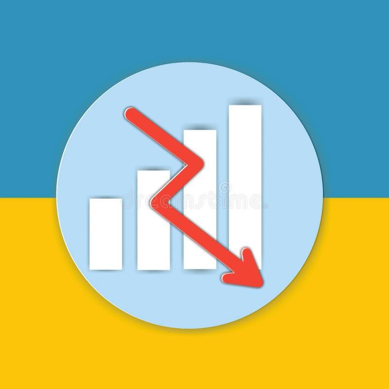 Wykres mapy znaka ikona na żółtym i błękitnym tle ilustracja wektor