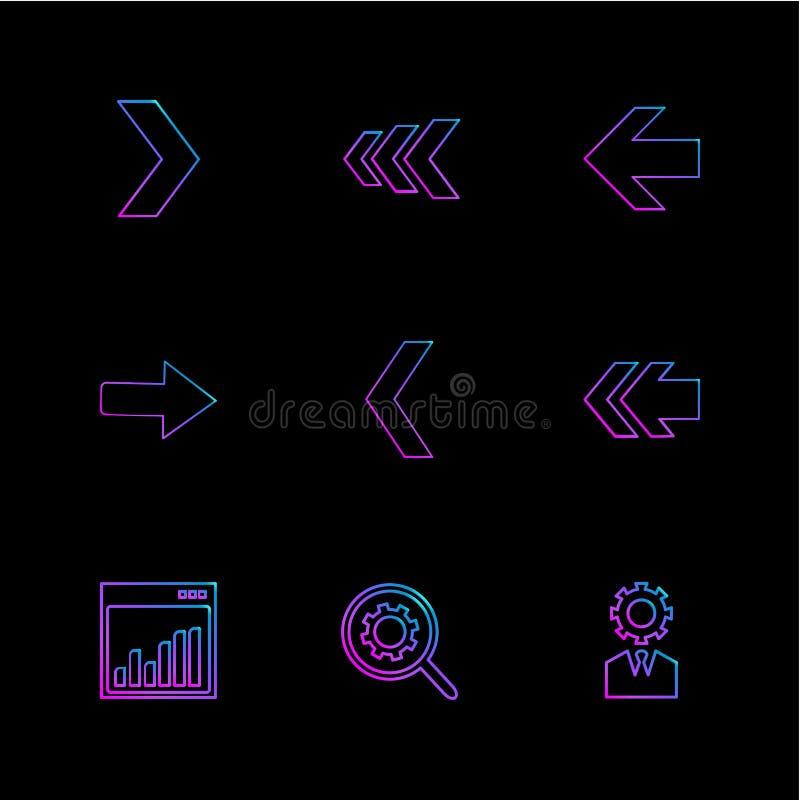 wykres, położenie, przekładnia, strzała, kierunki prawi, lewy, po royalty ilustracja
