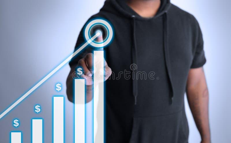 Wykres pokazuje przyrosta pieniądze na hologramie obrazy stock