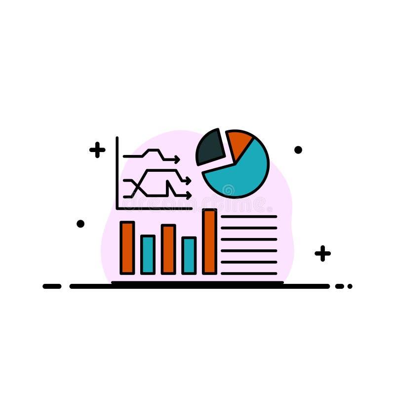 Wykres, sukces, Flowchart, Biznesowa Biznesowa linia Wypełniający mieszkanie ikony sztandaru Wektorowy szablon royalty ilustracja