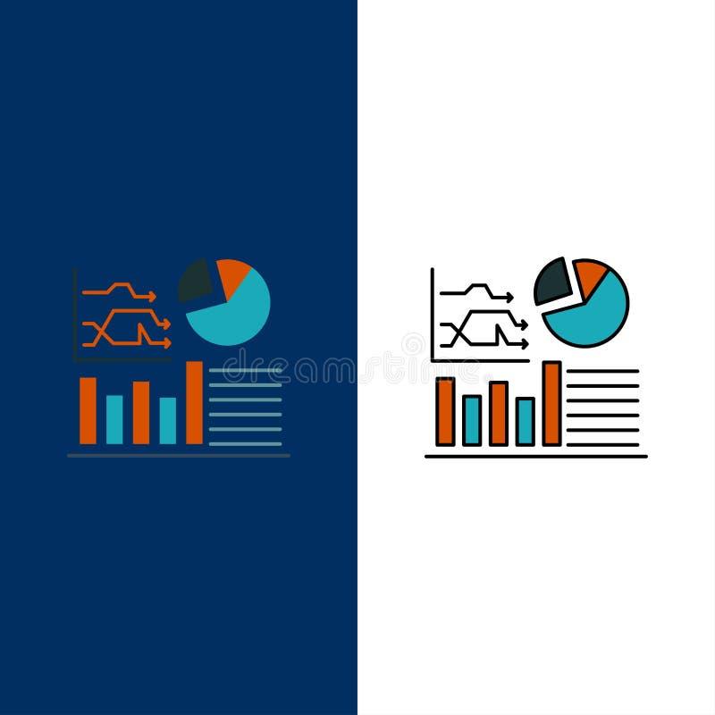 Wykres, sukces, Flowchart, Biznesowe ikony Mieszkanie i linia Wypełniający ikony Ustalony Wektorowy Błękitny tło ilustracja wektor