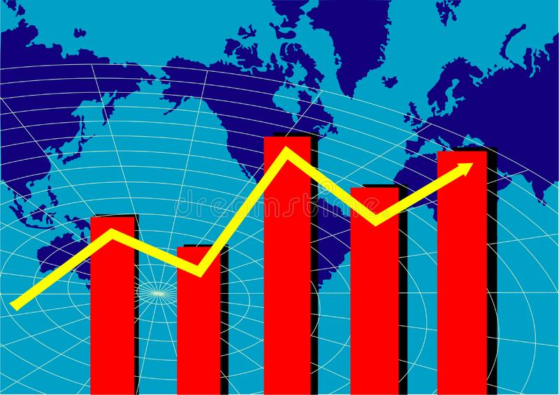 Wykres z światową mapą fotografia stock