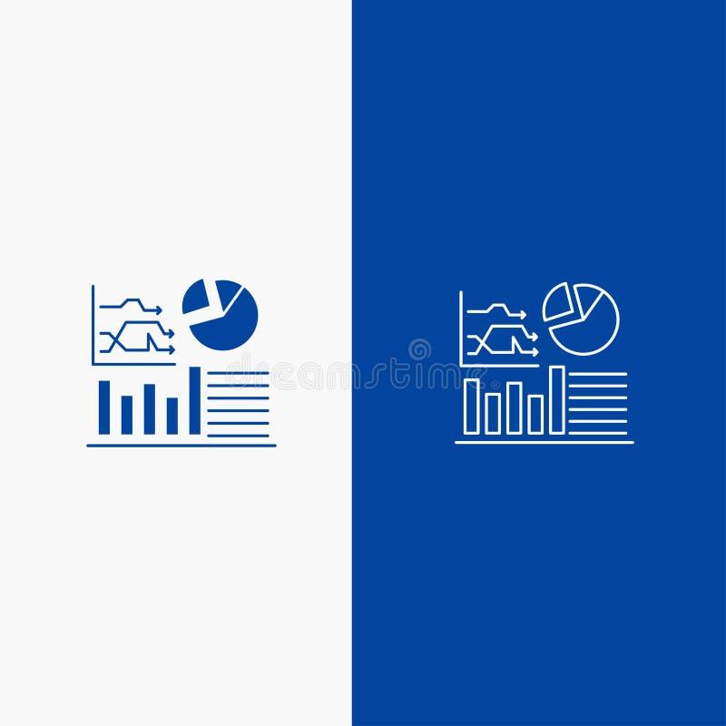 Wykresu, sukcesu, Flowchart, Biznesowej linii i glifu Stałej ikony sztandaru glifu, Błękitnej ikony błękita Stały sztandar ilustracji