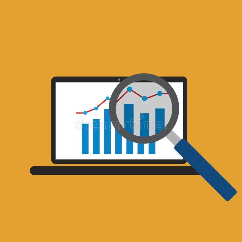 Wykresu wzrostowy trend od laptopu ekranu ilustracja wektor