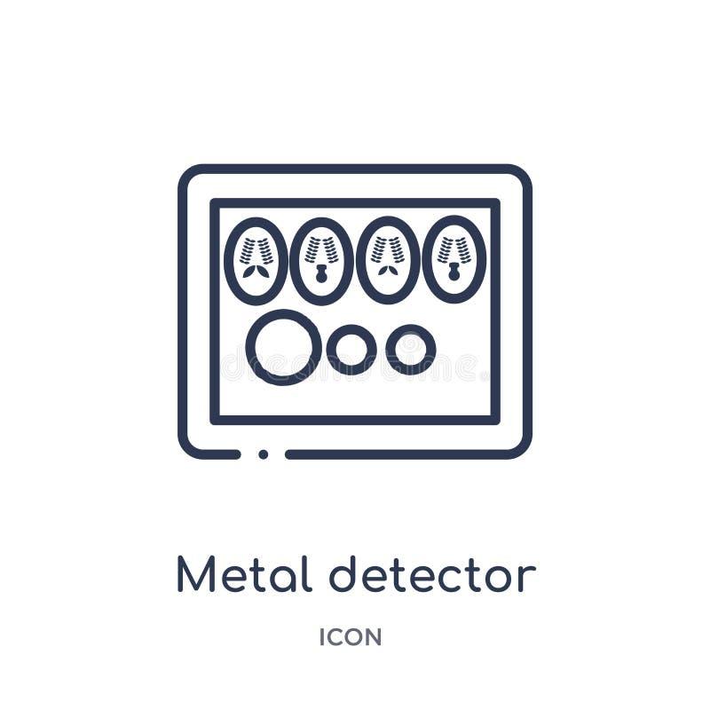 Wykrywacz metalu ikona od muzealnej kontur kolekcji Cienieje kreskową wykrywacz metalu ikonę odizolowywającą na białym tle ilustracji