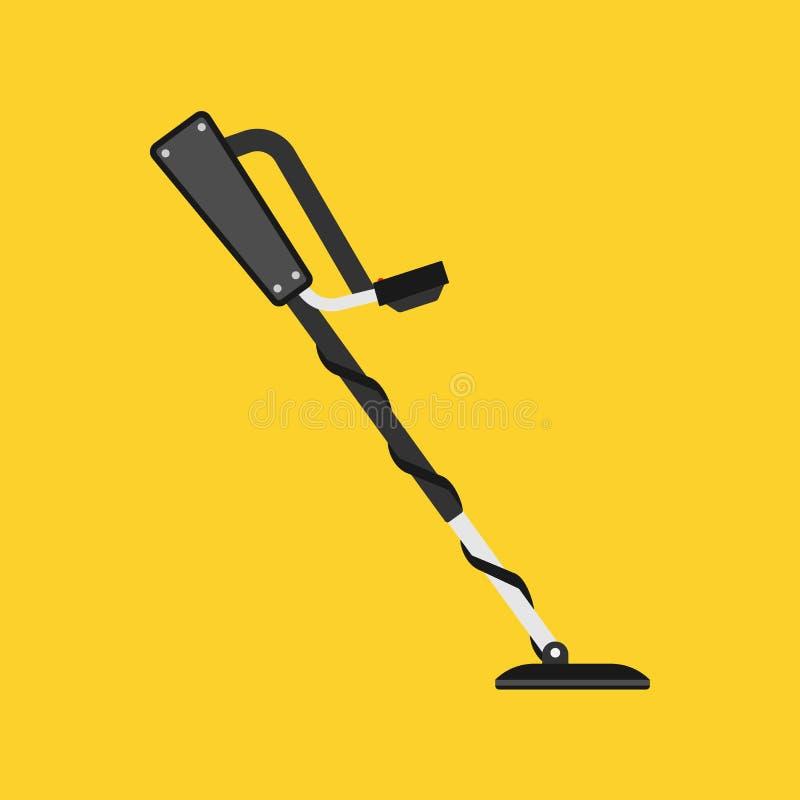 Wykrywacz metalu skarbu ikony wektorowy hobby Wyposażenie rewizji złota odkrycie Czarny czujnik przygody myśliwego narzędzia posz ilustracja wektor