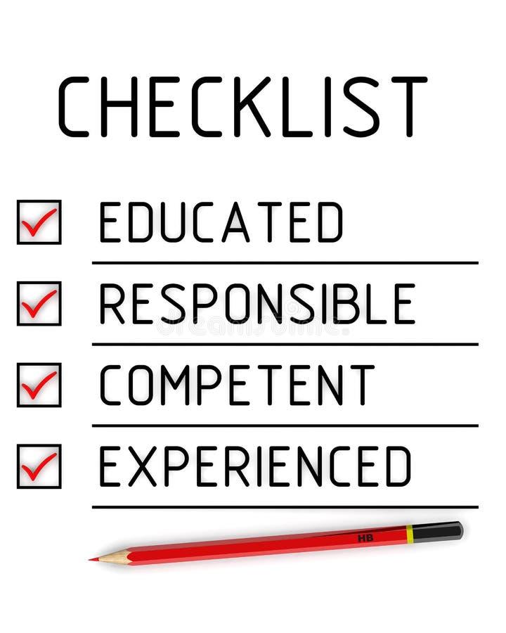 Wykształcony, odpowiedzialny, kompetentny, doświadczony Lista kontrolna ilustracja wektor
