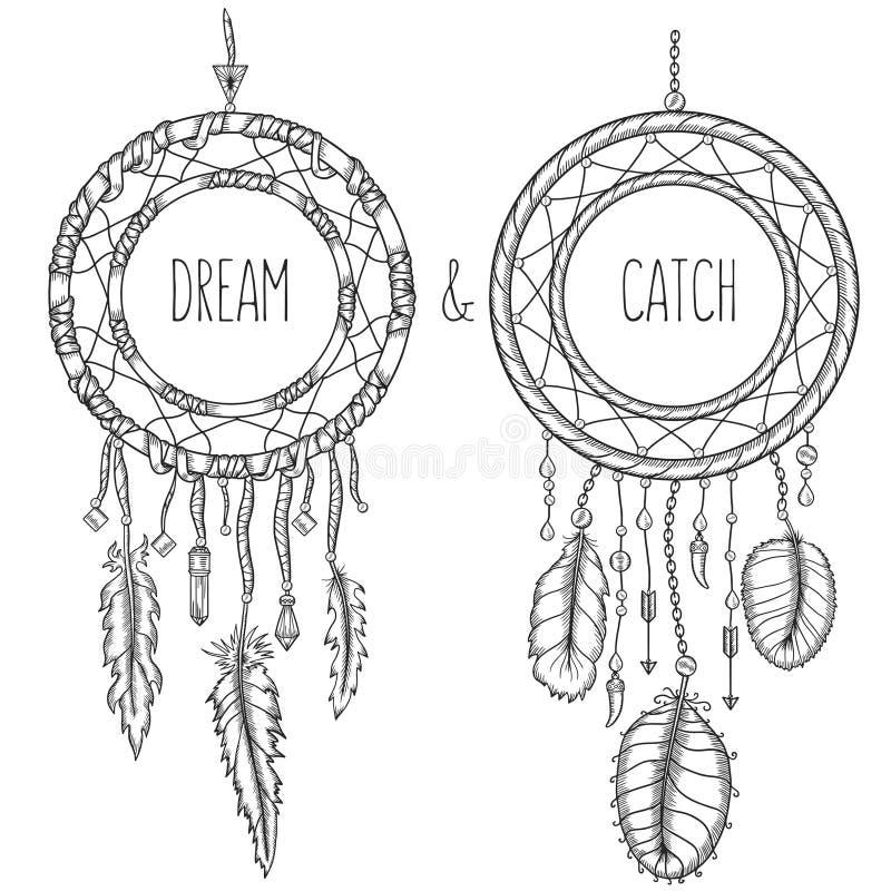 Wymarzeni łapacze Rodowitego Amerykanina tradycyjny symbol ilustracji