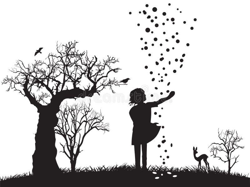 wymarzeni bajki dziewczyny ilustraci baranka sen ilustracja wektor