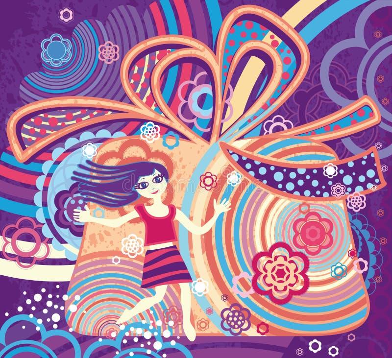 Wymarzona wakacje dziewczyna. ilustracja wektor