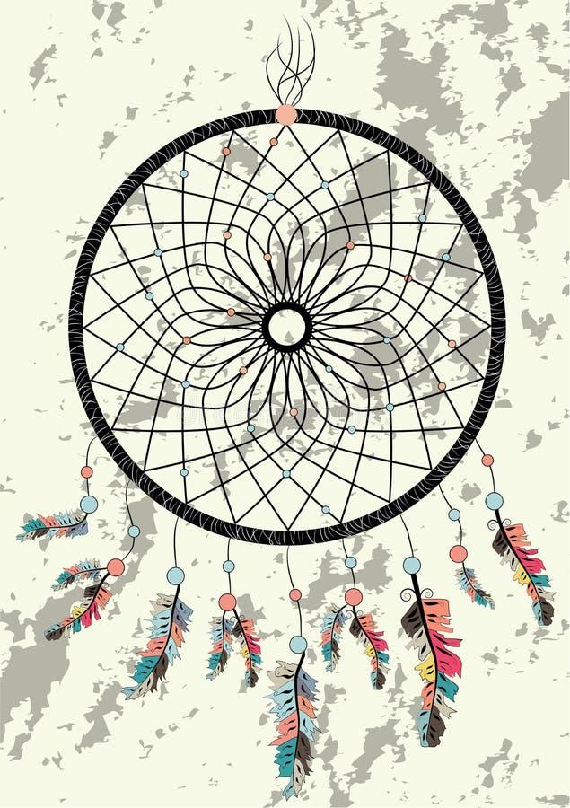 wymarzonego łapacza boho rodowitego amerykanina talizmanu indyjski dreamcatcher Odziewa etnicznego plemiennego projekt royalty ilustracja