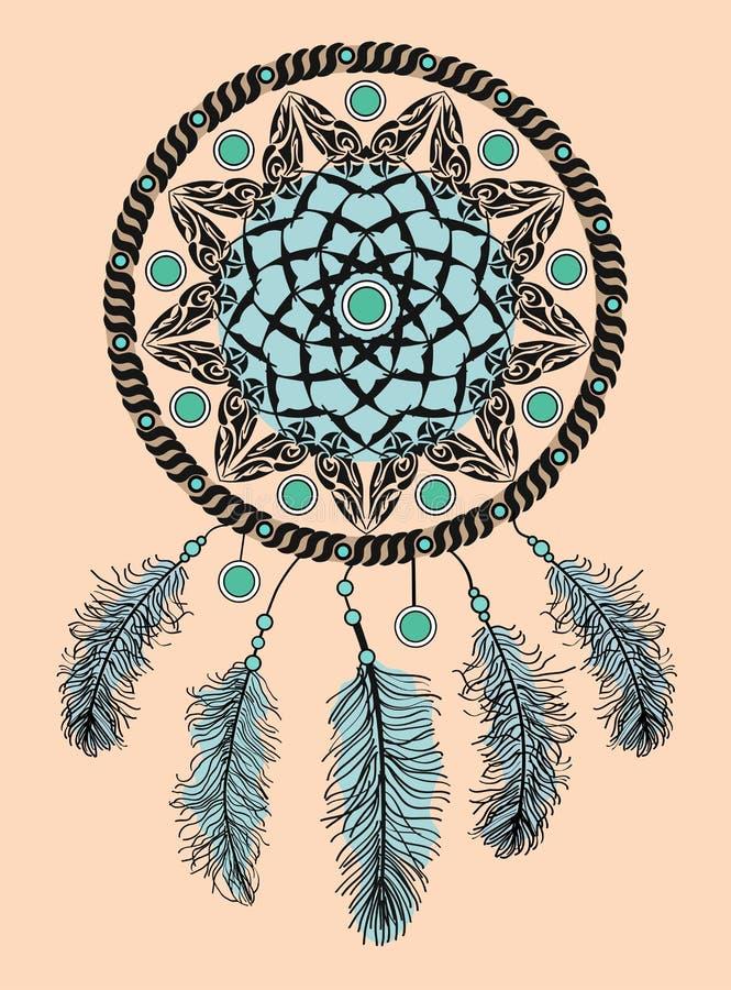 Wymarzony łapacz Ręka rysujący rodowitego amerykanina Indiański talizman z piórkami Etniczny projekt, boho szyk, plemienny symbol obraz royalty free