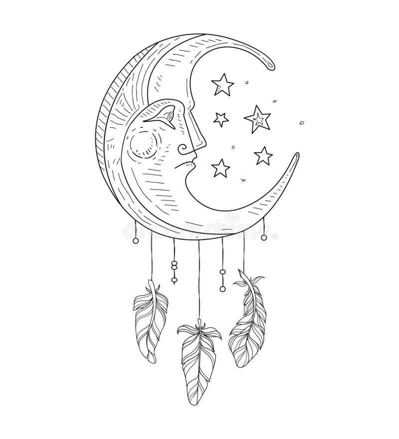 Wymarzony łapacz z księżyc twarzą, Etniczna Indiańska ręka Rysująca symbol Wektorowa ilustracja ilustracja wektor